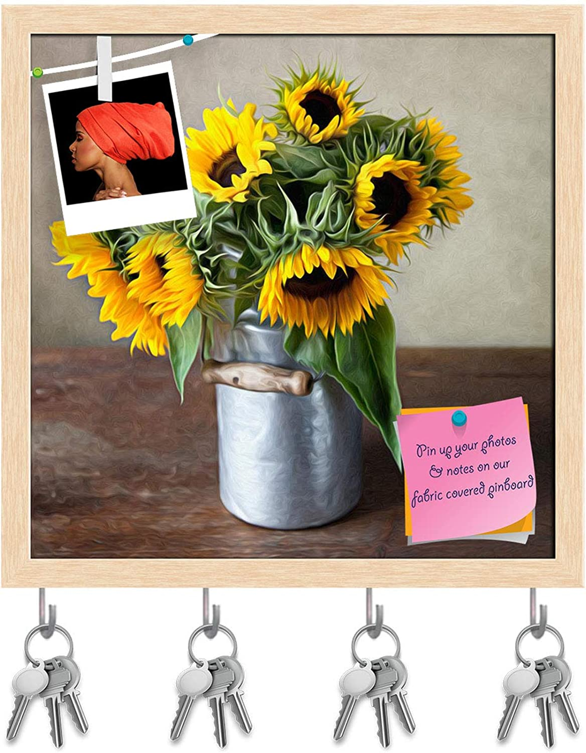 Artzfolio Sunflowers D3 Key Holder Hooks   Notice Pin Board   Natural Brown Frame 20 X 20Inch