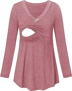 Maternity Shirts Nursing Tops V-Neck Long Sleeve Loose Comfortable Casual Breastfeeding Clothes