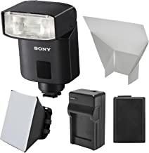 Sony Alpha HVL-F32M Flash with NP-FW50 Battery + Charger + Soft Box + Bounce Diffuser + Kit for Alpha A3000, A6000, A7, A7R, A7S & NEX-6 Cameras