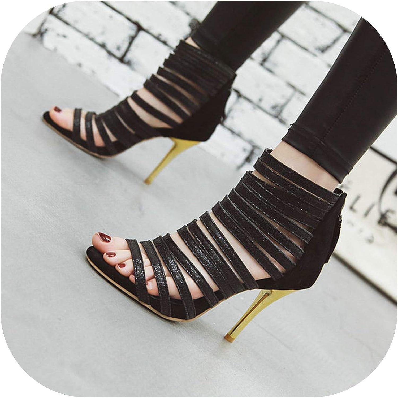 2019 Summer Zipper Gladiator Sandals Female Peep Toe Sexy Thin High Heels Party Pumps Women gold Black
