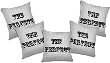 RADANYA Perfect 3D Printed Polyester Cushion Cover Set of 5 Pcs - 12x12 Inch, Ivory