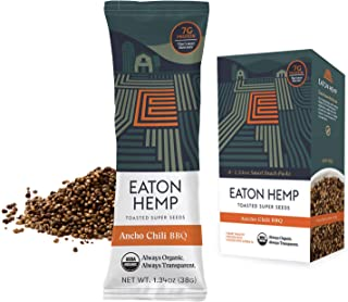 Eaton Hemp Super Seed Snack, Toasted with Ancho Chili BBQ, Natural, High Fiber, Plant-based Protein, Organic, Non-GMO, Zer...