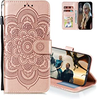 MEIKONST Case for Honor Play 4T Pro, Rose Gold Embossing Luxury PU Leather Flip Wallet Bookstyle with Stand Card Holder Ma...