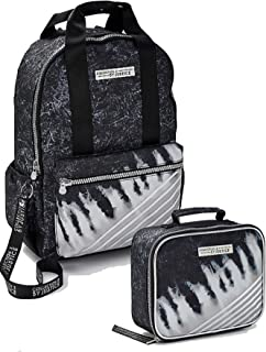 Justice Girls Back to School Bundle, Backpack and Lunch Tote Tie Dye Stripe Black