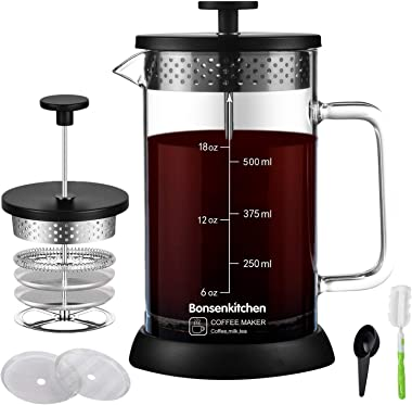 French Press Coffee Maker 20oz, 304 Stainless Steel Coffee Press with 4 Filter Screens, Heat Resistant Borosilicate Glass Cof