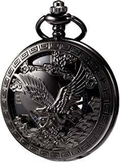 MORFONG Men's Hand-Wind Mechanical Pocket Watch Vintage Eagle Steampunk Fob Watches Hollow Bronze Case with Chain and Gift Box