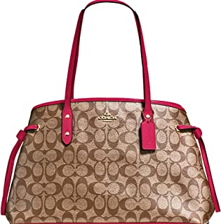 SALE ! New Authentic COACH Elegant Monogram Large Shoulder Tote Bag in Khaki/BEAUTIFUL Reddish Pink Leather Trim!