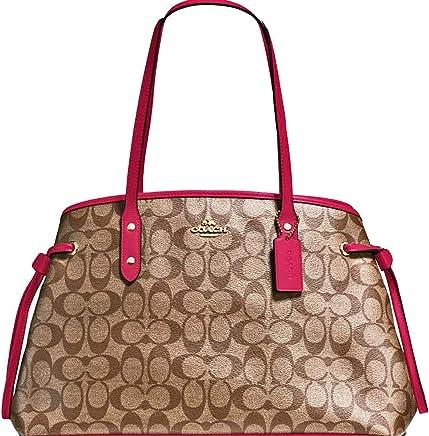 d1a0655a2b98 SALE ! New Authentic COACH Elegant Monogram Large Shoulder Tote Bag in  Khaki BEAUTIFUL Reddish