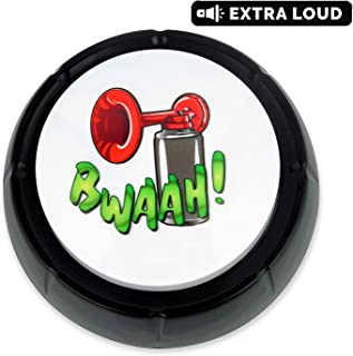 Bwaah Air Horn Sound Button - Makes Loud DJ Hip Hop Air Horn Sound Effect - Batteries Included - Hockey and Soccer Goal Buzzer Noise Maker - Hype The Office with Funny Airhorn Effects Machine Nut