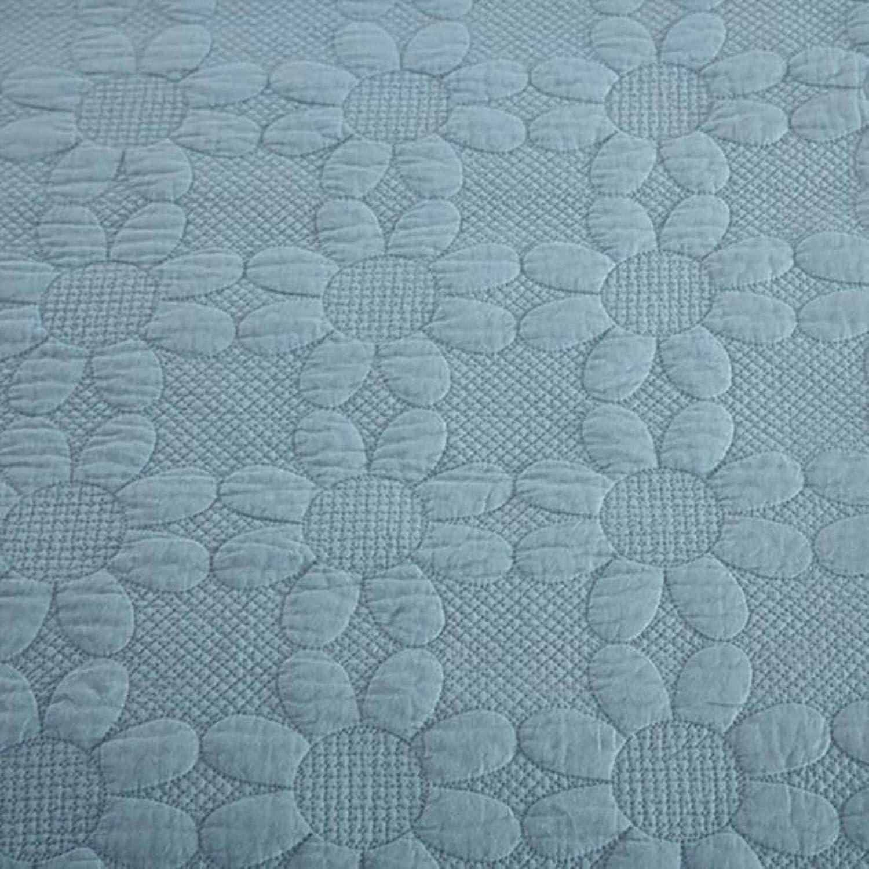 HJTLK Couvre-lit matelassé Jeter 3 pièces Ensemble de literie 100% Coton King Size Broderie Couvre-lit Couverture Douce Confortable Multifonction Quatre Saisons Couette lit C Blue