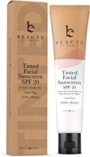 Tinted Sunscreen for Face - SPF 20 With Natural & Organic Ingredients Broad Spectrum Sunblock Lotion, Tinted Moisturizer Z...