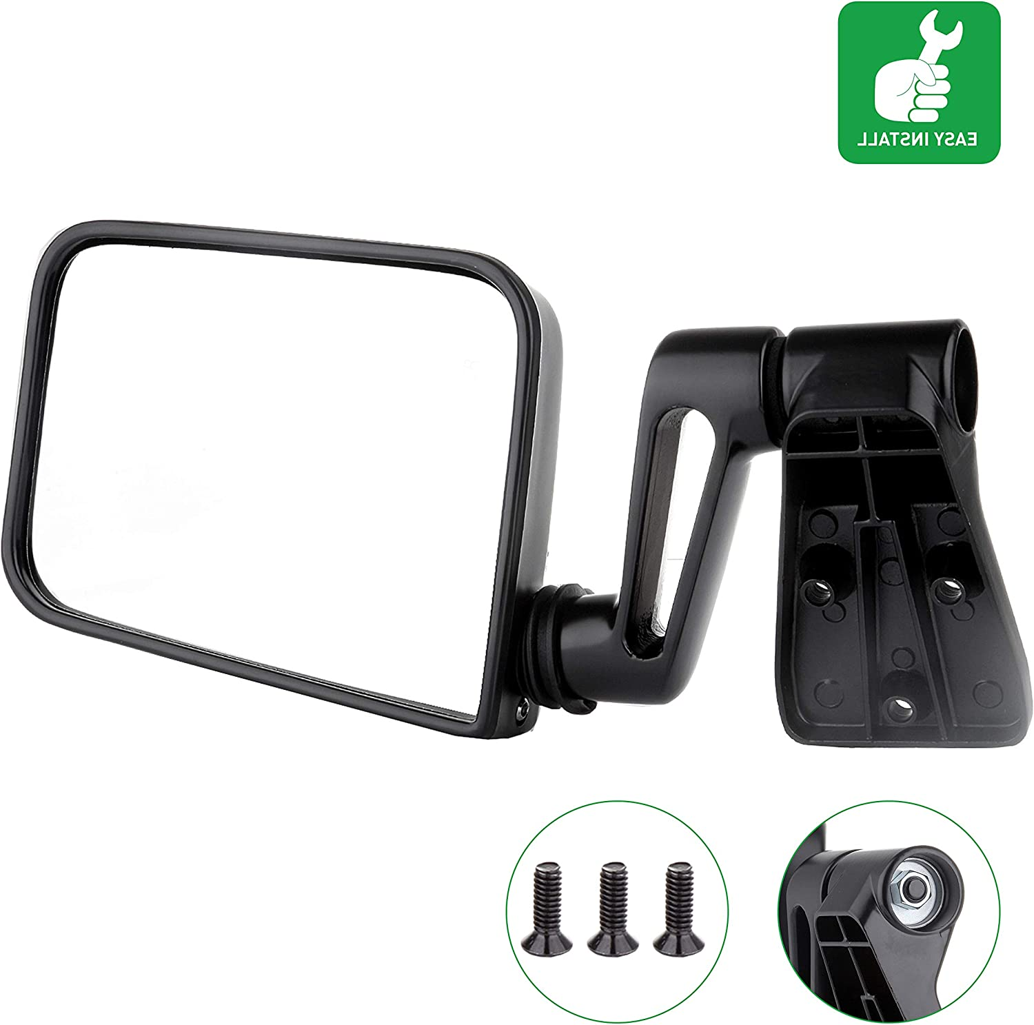 OCPTY Black Right Side Mirror Fit Free Shipping Cheap Max 46% OFF Bargain Gift for 1997-2002 1987-1995 Jeep W