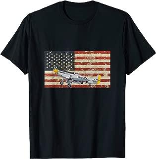 P-51 Mustang America Flag USA Pilot Military WW2 Airplane T-Shirt