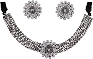 Total Fashion Oxidised German Silver Looklike Stone Choker Necklace with Stud Jewellery for Girls & Women
