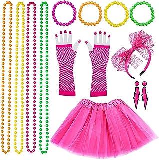 Jaren 80-kleding, neon-partyoutfit, jaren 80, voor dames, accessoires, feestaccessoires met regenboogjurk, handschoenen, a...