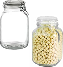 Anchor Hocking 2 Pack 67oz Glass Jars Airtight Hinged Hermes Lids Kitchen Storage Canisters