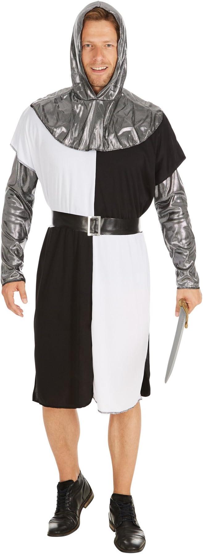 TecTake dressforfun Disfraz de Caballero Medieval para Hombre | Camisa de Manga Larga con Mangas y Capa con Capucha en Óptica de Metal y un Cinturón ...