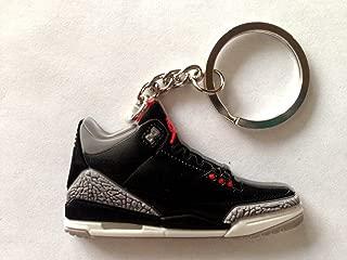 Air Jordan 3/III Cement 88 OG Black/Grey Sneakers Shoes 2D Keychain Keyring