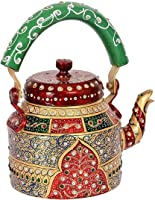 Rajasthan Craft Point Traditional Print Hand Painted Aluminum Kettle Pot for Serving & Home Décor (Color: Maroon )