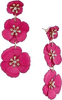 black earrings black pink and gold enamel and porcelain flower charm earrings pink earrings garden flower earrings Pink flower earrings