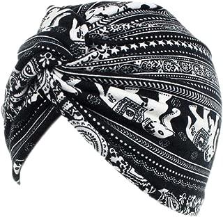 Decou Elephant Printed Twist Pleated Hair Wrap Stretch Turban E234