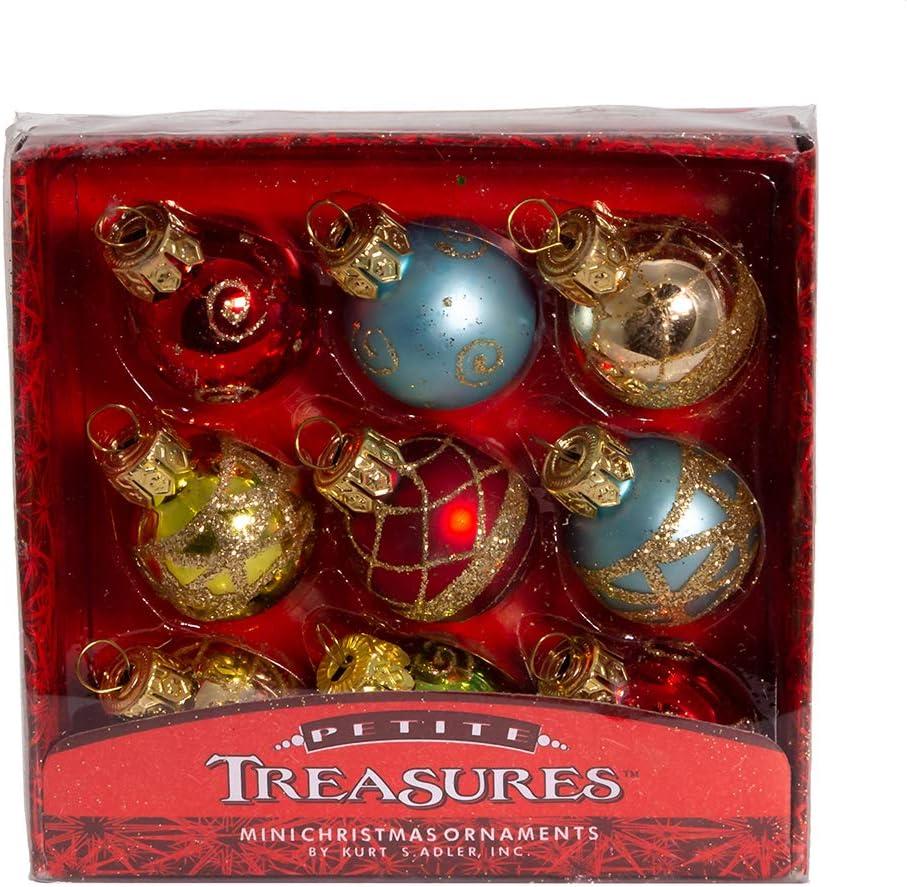 Kurt Adler Petite Treasures Multi Color Ball Christmas Ornament, Set of 20