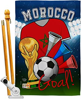 Ornament Collection HS192102-P3 World Cup Morocco Soccer Interests Sports Decorative Vertical House Flag Set, 28