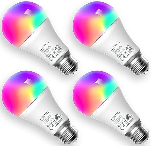 meross Smart Wi-Fi LED Bulb, E27 Light Bulb, Multiple Colors, RGBCW, 60W Equivalent, Compatible with Alexa, Google As...