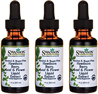 Swanson Hawthorn Berry Leaf & Flower Liquid Extract (Alcohol-Free) 1 fl Ounce (29.6 ml) Liquid (3 Pack)