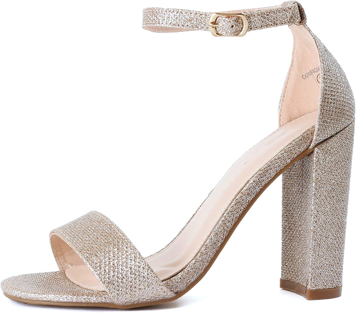Guilty shoes Guilty Heart   Womens Comfort Open Toe Ankle Strap Chunky Block High Heel   Sexy Dress Formal Party Sandal