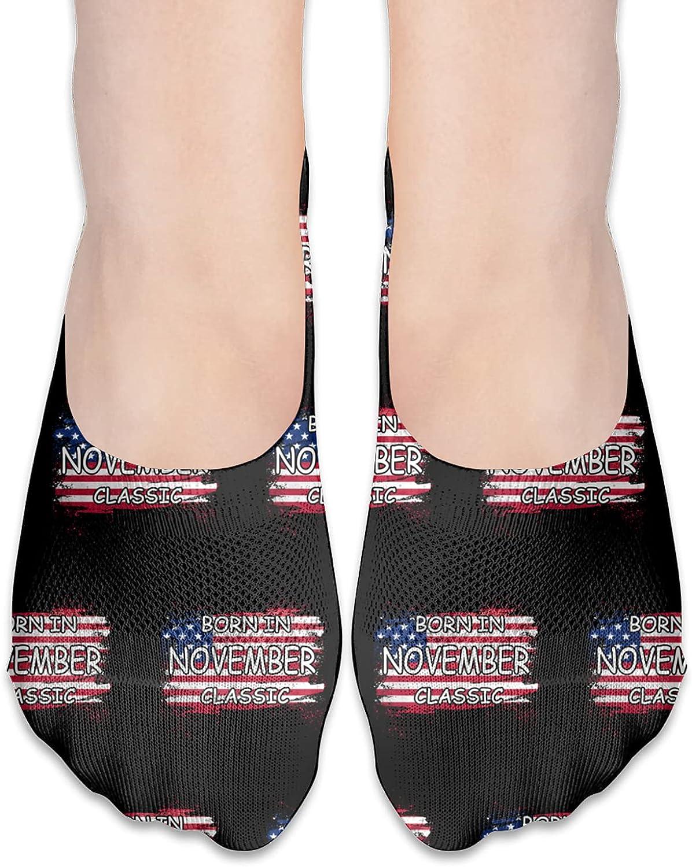 Born In November Classic Retro - American Flag Birthday No Show Socks Adult Short Socks Athletic Casual Crew Socks