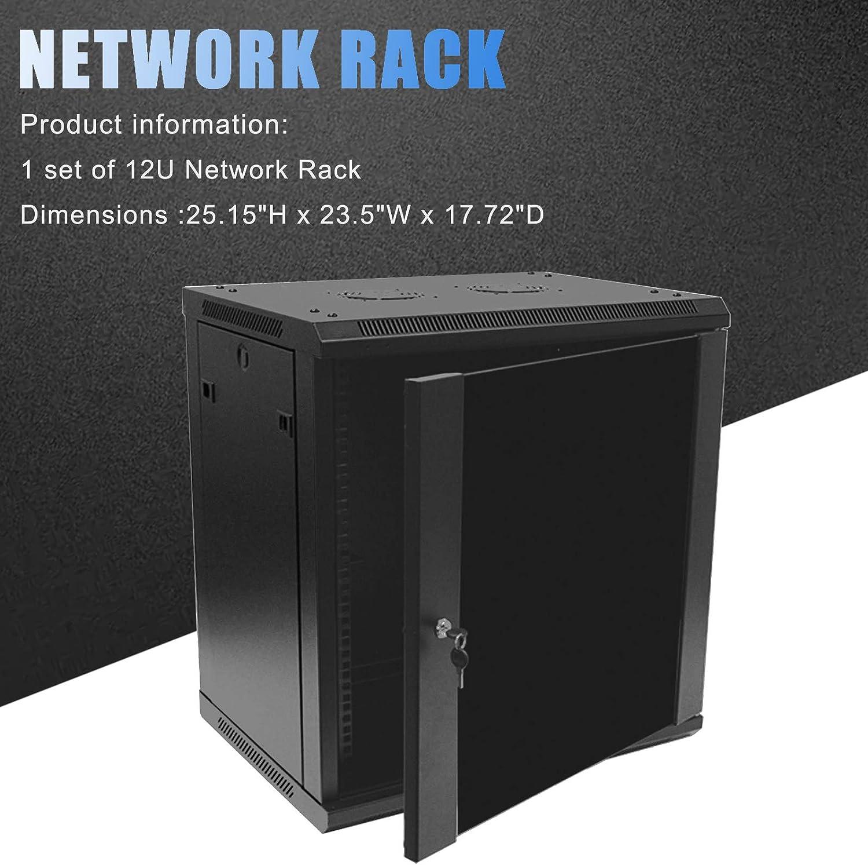 1 Set of 12U Network Server Data Cabinet Black Rack Glass Door Lock,Apply to Network Wiring Room,Computer Room,Data Room,Control Center,Home,Office,etc.