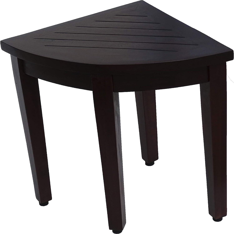 HomeRoots Dark Brown Compact Teak Corner Shower/Outdoor Bench wi