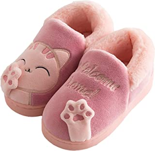 Zapatillas de Estar por casa Gato para niña niño Pantuflas Invierno Interior Suave Casa Caliente Zapatos Antideslizantes P...