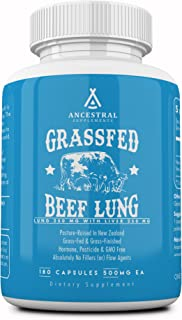 Ancestral Supplements Beef Lung (with Liver) � Supports Lung, Respiratory, Vascular, Circulatory Health (180 Capsules)