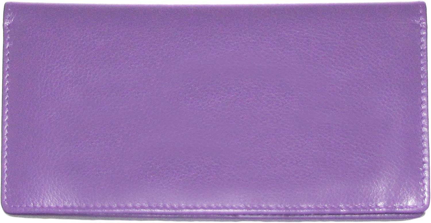 Ili 7406 RFB Leather Checkbook with Pen Holder (Amethyst)