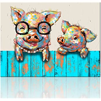 Amazon Com Visual Art Decor Cartoon Animal Canvas Wall Art Funky Pigs Digital Painting Prints With Frame Ready To Hang Modern Picture For Kid S Room Home Wall Decoration 16 X20 Posters Prints,What Colour Is Orange Fruit