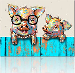 Visual Art Decor Cartoon Animal Canvas Wall Art Lovely Funky Pigs Painting Prints with Frame Ready to Hang Modern Picture for Kid's Room Home Wall Decoration (24