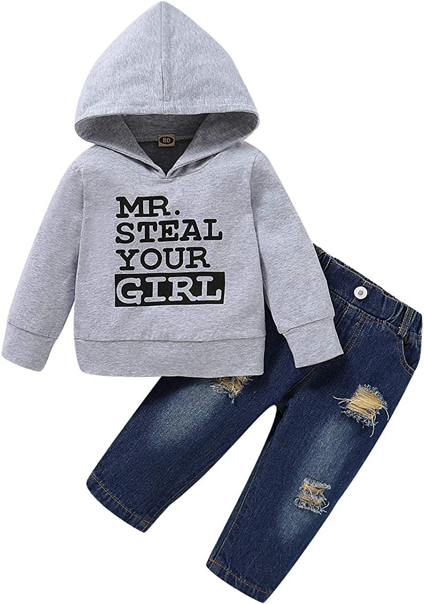 DERCLIVE 2pcs Boys Hoodie+ Hole Pants Fashion Outfit Suit for 1- 5 Years Old Boys