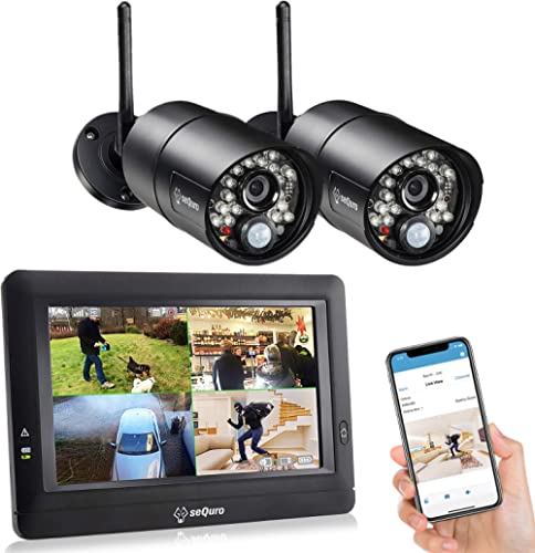 "SEQURO GuardPro DIY Long Range Home Security Camera System,Outdoor Surveillance Camera, Portable 7"" Touchscreen HD Mo..."