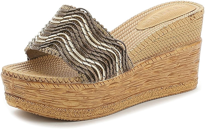 Btrada Women Woven Platform Slides High Heel Wedge Beach Sandals