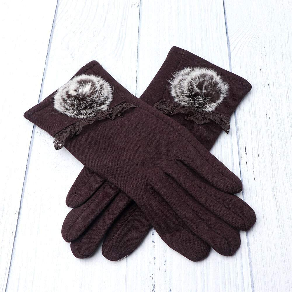 FASGION New Winter Female Thermal Touch Screen Gloves Soft Floral Ball Cotton Mittens Double Thick Plush Wrist Women Driving Gloves (Color : Chocolate)