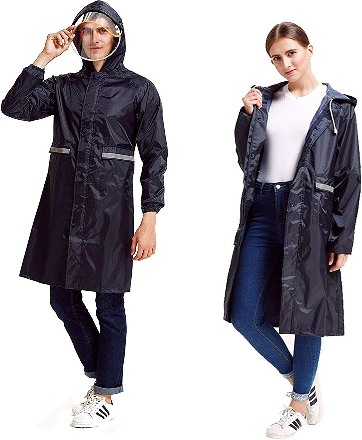 Rain Poncho High Visibility Long Reflective Waterproof Raincoat with Hood for Men Adult Outside Working
