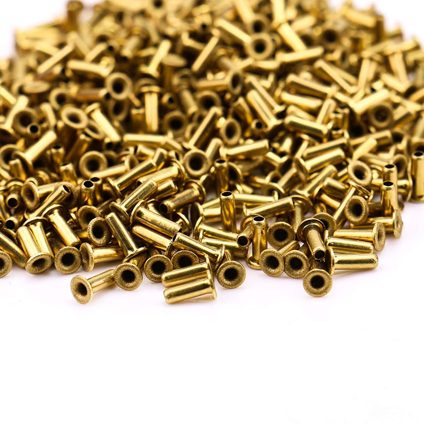 Monrocco 500 Pcs M2x6mm Gold Metal Hollow Eyelets Rivets Brass Plated Long Eyelets Nut for Jewelry Leather