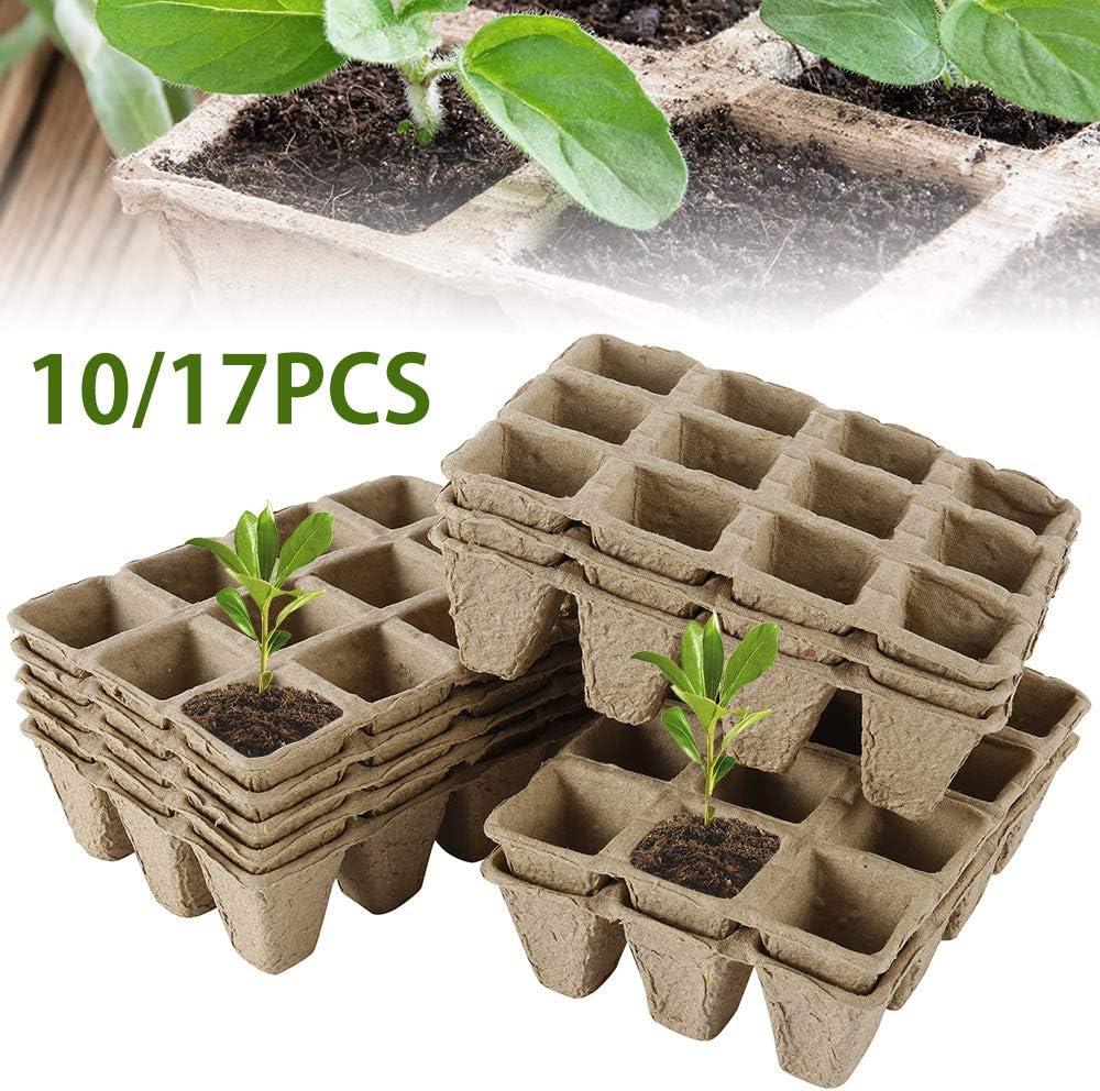 Plateaux de semences avec 12 grilles 10Pcs 10Pcs Plateau de semis Biodegradable Pots de semis en biod/égradables Plateau de Germination pour la Culture des Plantes