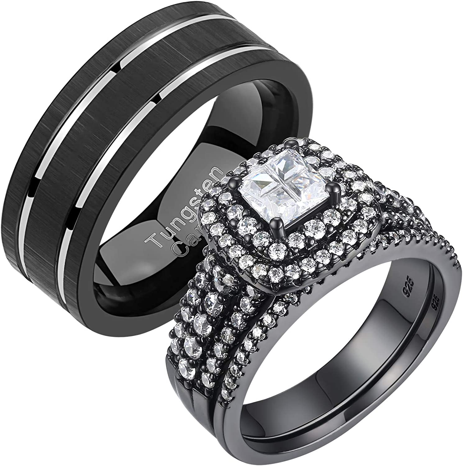Newshe Wedding Rings OFFicial store Set for Him Her Ban OFFicial mail order Mens and Tungsten Women