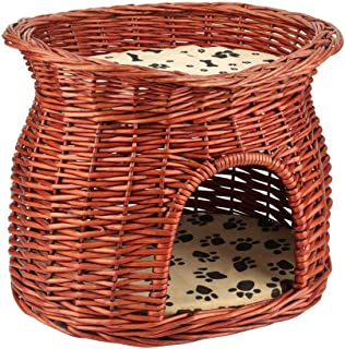 Yosoo Cat Basket, 2 Layers Pet Self Warming Beds Wicker Cat Bed Basket Pet Dog Sleeping House with Soft Cushion