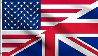 DMSE USA United States America American UK United Kingdom British Union Jack Friendship Flag 3X5 Ft Foot 100% Polyester 100D Flag UV Resistant (3'X5' Ft Foot)