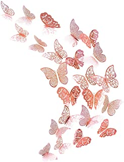 pinkblume Rose Gold Butterfly Decorations Stickers 3D Butterfies Wall Decor DIY Home..