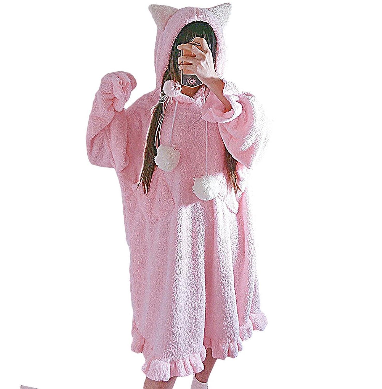 [もうほうきょう] パジャマ バスローブ ネグリジェ レディース 寝間着 睡裙 フードワンピース 秋冬 日係 ソフト?妹 可愛い ふかふか 猫耳ルームウェア もこもこ